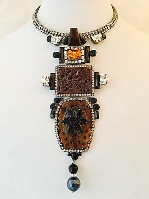LAWRENCE VRBA Stunning Chinese Theme Art Glass Art Deco Necklace OOAK