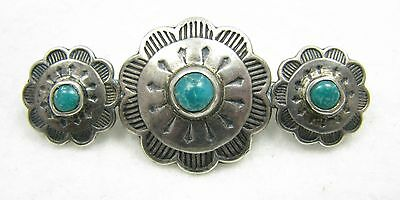 Vintage Navajo Fred Harvey Era Sterling Silver Blue Green Turquoise Brooch Pin