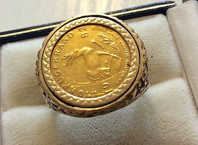 Nice Vintage Solid 22ct Gold ( 1/10th Krugerrand ) Solid Gold Coin Ring - S 1/2
