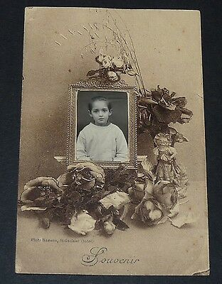 Rare Cpa Carte Postale 1910 Montage Photo Ecole Souvenir En Tableau