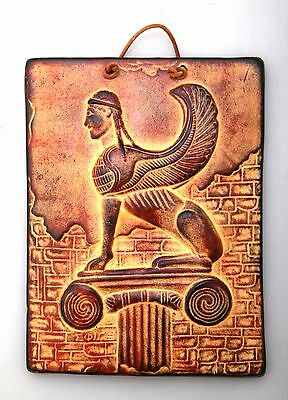 Ancient Greek Ceramix Wall Plaque Of Sphinx Griffon Patine Collectable - 2525