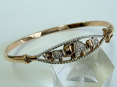 Pretty 9Ct Yellow White Gold Novelty Bangle With Elephants Diamonds