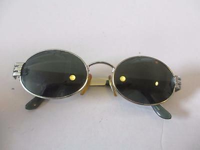 Womens Byblos Silver Metal/green Plastic Frame W/gray Lens Oval Sunglasses