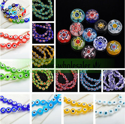 8mm EVIL EYE Flat Round Millefiori Glass Loose Spacer Beads Jewelry Findings