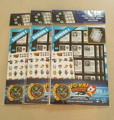 Lot of 3 New Yokai Watch Medallium Collection Book Pages with Medals Season 1