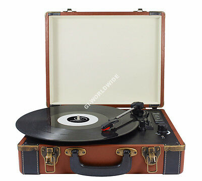 Brown/Black Retro Turntable Briefcase Style Vinyl Record Player Bluetooth & AUX
