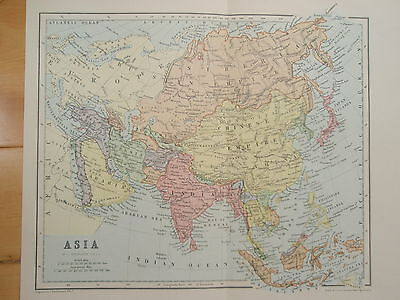 VICTORIAN MAP OF ASIA old antique vintage print 1892 INDIA CHINA RUSSIA EUROPE
