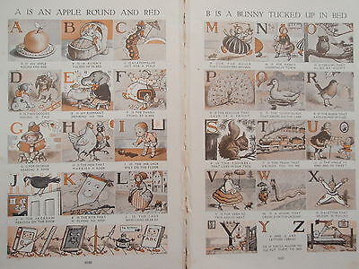 ALPHABET old vintage retro print double page A to Z 1920s by SYBIL BURNSIDE