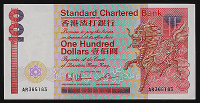 Hong Kong Standard Chartered Bank 1986 $100 One Hundred Dollars Banknote P-281b