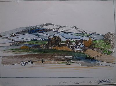 COLOURED GRAPHITE DRAWING by FREDERICK GEORGE WILLS 1901-1993 R.I. DARTMOOR