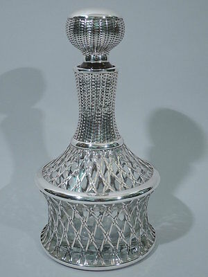 Antique Decanter - Basket Weave - Asian - Japanese Glass & Silver Overlay