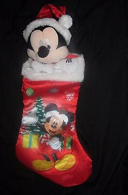 "Disney Mickey Mouse Plush Head Hands 3-D Christmas Stocking Red Satin 17"" Long"