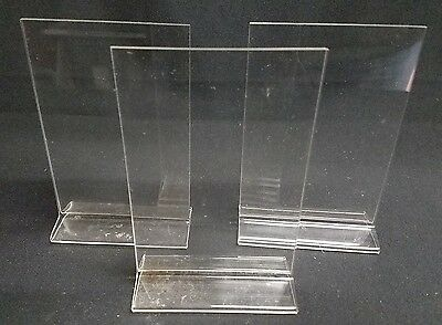"3 Acrylic Sign Holder 4"" x 5 5/8"" Table Top T Advertising Store Display Counter"