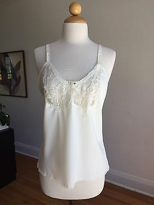 GORGEOUS VTG LORRAINE Ivory Silky Lacey Camisole Lingerie Top SZ 34