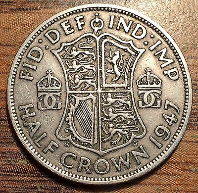 1947 Great Britain 1/2 Crown King George VI Coin