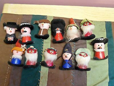 12 VINTAGE WOODEN DOLLS of the WORLD ~ NATIONS  ~ Made in  GERMANY or SWEDEN