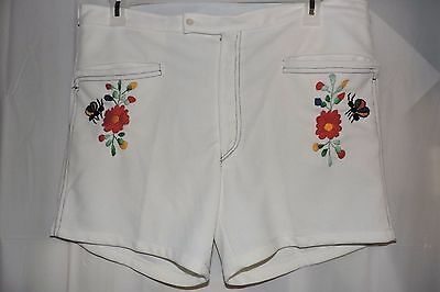 Women's Vintage 70's shorts size 2X White embroidered High cut CUTE! XXL costume