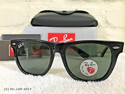 Ray Ban Original Wayfarer Black / Natural green Polarized RB 2140 901/58 54mm