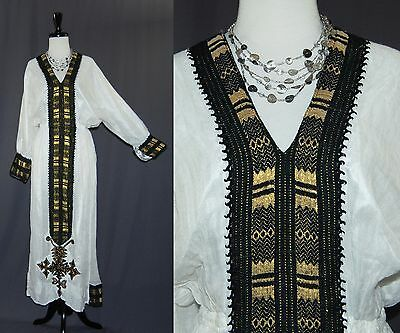 Ethiopian Traditional Dress Cream White Cotton Gauze Metallic Accents M L XL