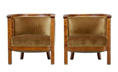 Pair Of 20Th Century Art Deco Birch Club Armchairs