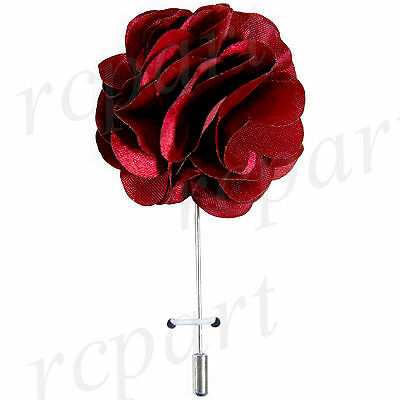 "New in box formal Men Suit chest brooch burgundy solid 2"" flower lapel pin"