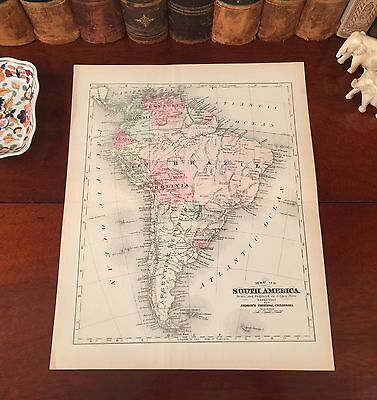 Original 1892 Antique Map SOUTH AMERICA Peru Bolivia Brazil Colombia Argentina