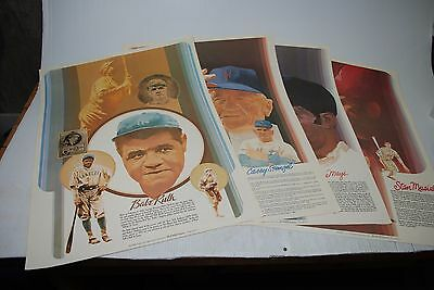 1970's COCA COLA -BASEBALL GREATS POSTERS SET OF 4 - STENGEL, MAYS, RUTH, MUSIAL