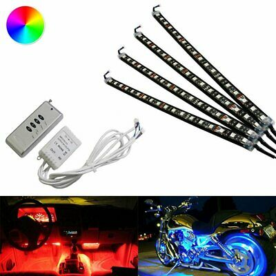 """4 x 12"""" RGB 7 Color LED Knight Rider Ground Effect Light Kit For Motorcycle Bike"""