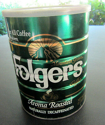 Folgers 1lb 10oz Decaffeinated 1993 Coffee Can with Lid