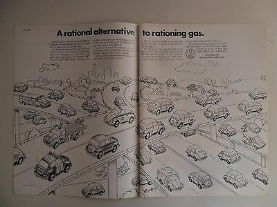 1974 Print Ad VW Volkswagen Beetle Car Automobile ~ Rational Way to Ration Gas
