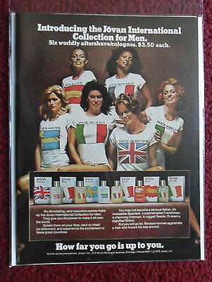 1976 Print Ad Jovan Men's Aftershave Cologne Fragrance ~ International Girls