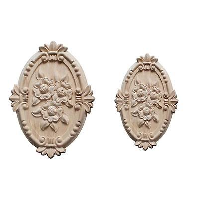 Retro Wood Ornament Applique Carving Ornament for Cabinet Door Furniture Decor