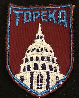 TOPEKA Vintage Patch KANSAS State Capital Souvenir Travel VOYAGER Embroidered