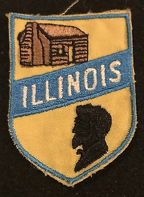 ILLINOIS Vintage Patch State Lincoln Cabin Souvenir Travel VOYAGER Embroidered