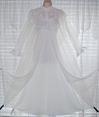 Vtg White Peignoir Robe Nightgown Gown Negligee Set With Sheer Chiffon Lace S