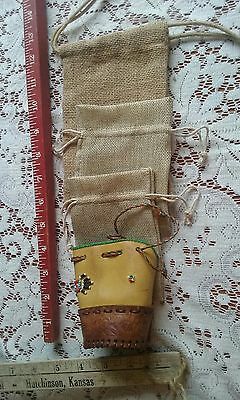 Lot of 3 little canvas bags & 1 leather and beaded bag