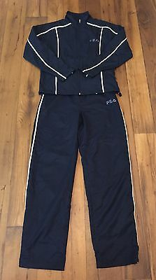 Women's Vintage Retro FILA Polyester Track Jump Suit Exercise  Navy-Small