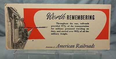 "Vintage Advertising Ink Blotter: ASSN. of AMERICAN RAILROADS ""WORTH REMEMBERING"""