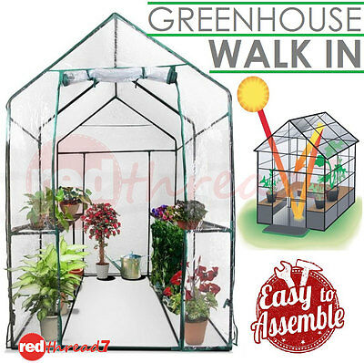 Greenhouse Garden Shed Walk In PVC Cover Hot House Plant Storage 1.9x1.2x1.9M