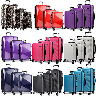 Suitcase Set Lightweight 4 Wheel Luggage Travel Trolley Case 3 Pc Set  KONO