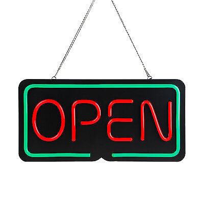 "19.7"" x 9.8"" OPEN LED Neon Light Sign, Red & Green Window Displaying Broad"