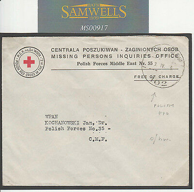 MS917 1946 RED CROSS MISSING PERSONS BUREAU Free Cover Polish Forces Middle East