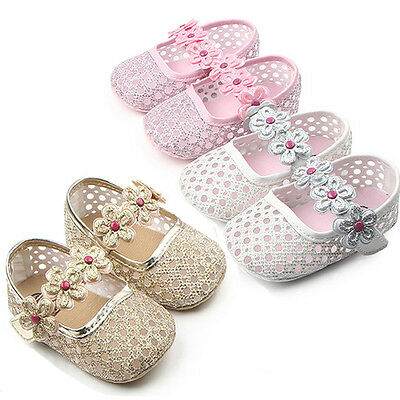 Baby Girls Princess Summer Shoes Crib First Walkers Mary Jane Hollow Sandal