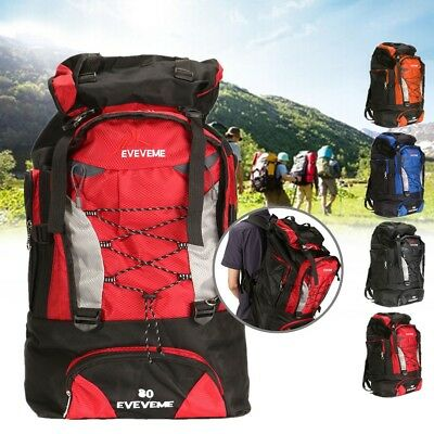 80L Extra Large Camping Travel Rucksack Adjustable Backpack Durable Nylon Bag