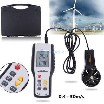 Digital LCD CFM/CMM Thermo Anemometer Infrared Thermometer Airflow Wind With Fan