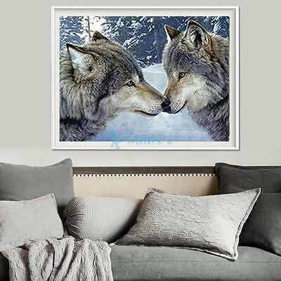 HOT~ Two Wolves 5D Diamond DIY Painting Craft Kit Home Decor