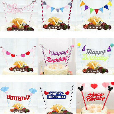 Happy Birthday Sweet Love Cake Topper Flag Banner DIY Party Favors Decor Tool