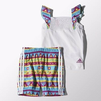 adidas Girls Infant Set T-Shirt & Shorts Baby White Age 3 Months - 3 Years NEW