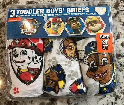 Nwt 3-Pack Toddler Boys Paw Patrol Briefs Size 2T/3T