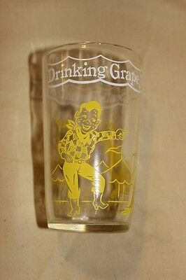 Vintage Yellow 1953 HOWDY DOODY WELCH'S Jelly Drinking GLASS Clown Embossed
